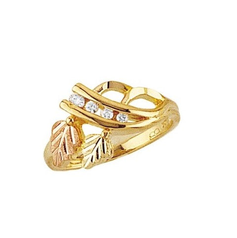 Sizes 4 - 13 Mt. Rushmore Black Hills Gold Leaf Swirl Diamond Ring - 10K and 12K solid gold - MadeTo Order - G 1495D