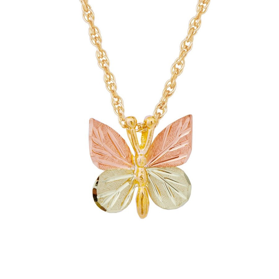 Mt. Rushmore Black Hills Gold Leafy Wings Butterfly Necklace - 10K Yellow and 12K Rose Pink and Green Gold - Handmade -  G 226