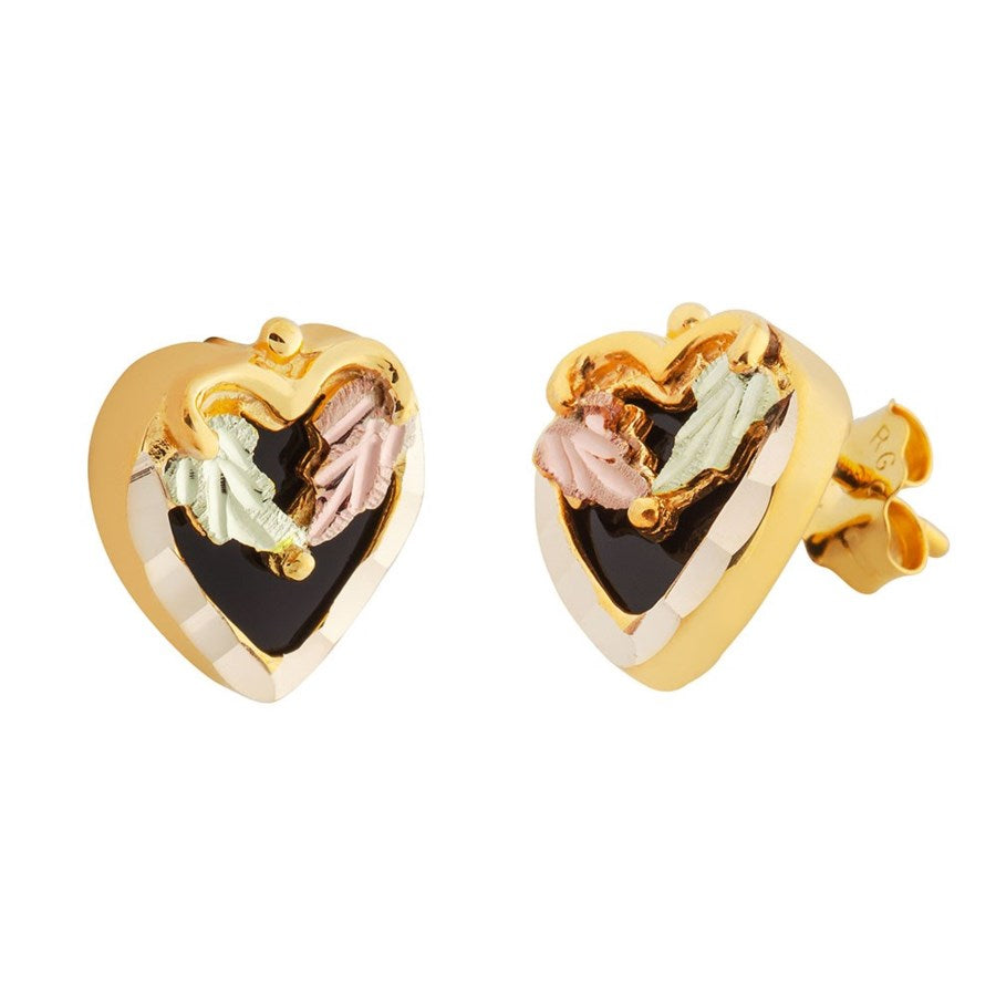 Mt. Rushmore Black Hills Gold Onyx Heart Post Earrings - 10k 12k & 14k  Yellow, Rose & Green Gold - Handmade - G 3020OX