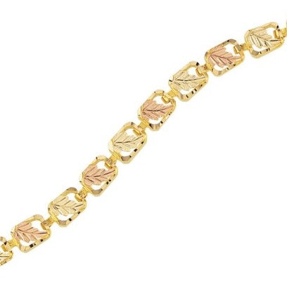 Mount Rushmore Black Hills Gold Leafy Gold Bracelet - 10k and 12k Solid Gold - Made To Order - G 866