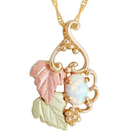 Landstrom's Black Hills Gold Grape Cluster Lab Opal Necklace - 10K Yellow and 12K Rose and Green Solid Gold - Made To Order -  G LPE602