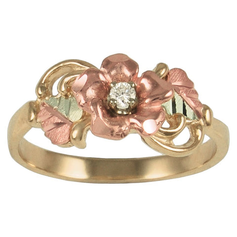 Sizes 4 - 13 TRJ Black Hills Gold Elegant Rose Diamond Ring - 10K and 12K solid gold - Made To Order -  G C1647D