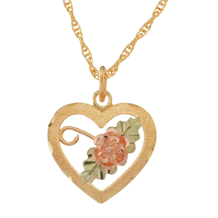 TRJ Black Hills Gold Sweet Heart Necklace - 10K and 12K Solid Gold - Made To Order -  G C2016