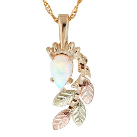 "Genuine Black Hills Gold Lab Opal with Leaf Spray Pendant Necklace - 10K Yellow and 12K Rose Pink and Green Gold - 18"" Gold Filled Chain - Handmade - G C25190L-CB"