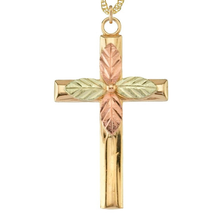 "Genuine Black Hills Gold  Cross and Leaves Pendant Necklace - 10K Yellow and 12K Rose Pink and Green Gold - 18"" Gold Filled Chain -  G C25212"