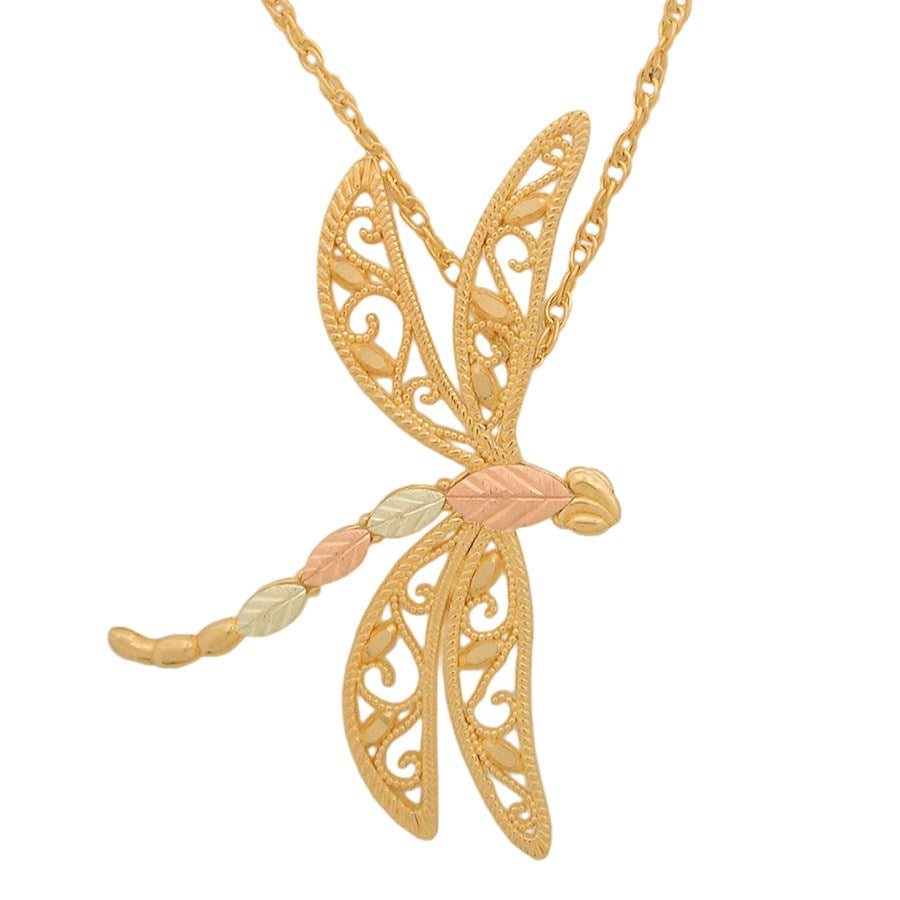 "Genuine Black Hills Gold  Dragonfly with Leaves Pendant Necklace - 10K Yellow and 12K Rose Pink and Green Gold - 18"" Gold Filled Chain -  G C25632"