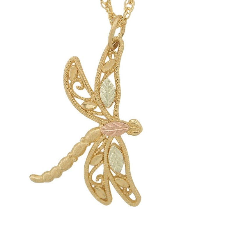 "Genuine Black Hills Gold  Dragonfly with Three Leaves Pendant Necklace - 10K Yellow and 12K Rose Pink and Green Gold - 18"" Gold Filled Chain - G C25700"