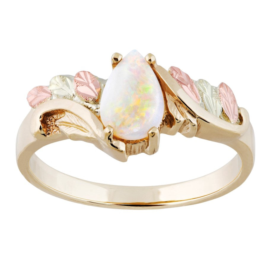 Sizes 5 - 10 Black Hills Gold  Lab Opal Grape Leaves Ring - 10K and 12K - Handmade - G C40483L-CB