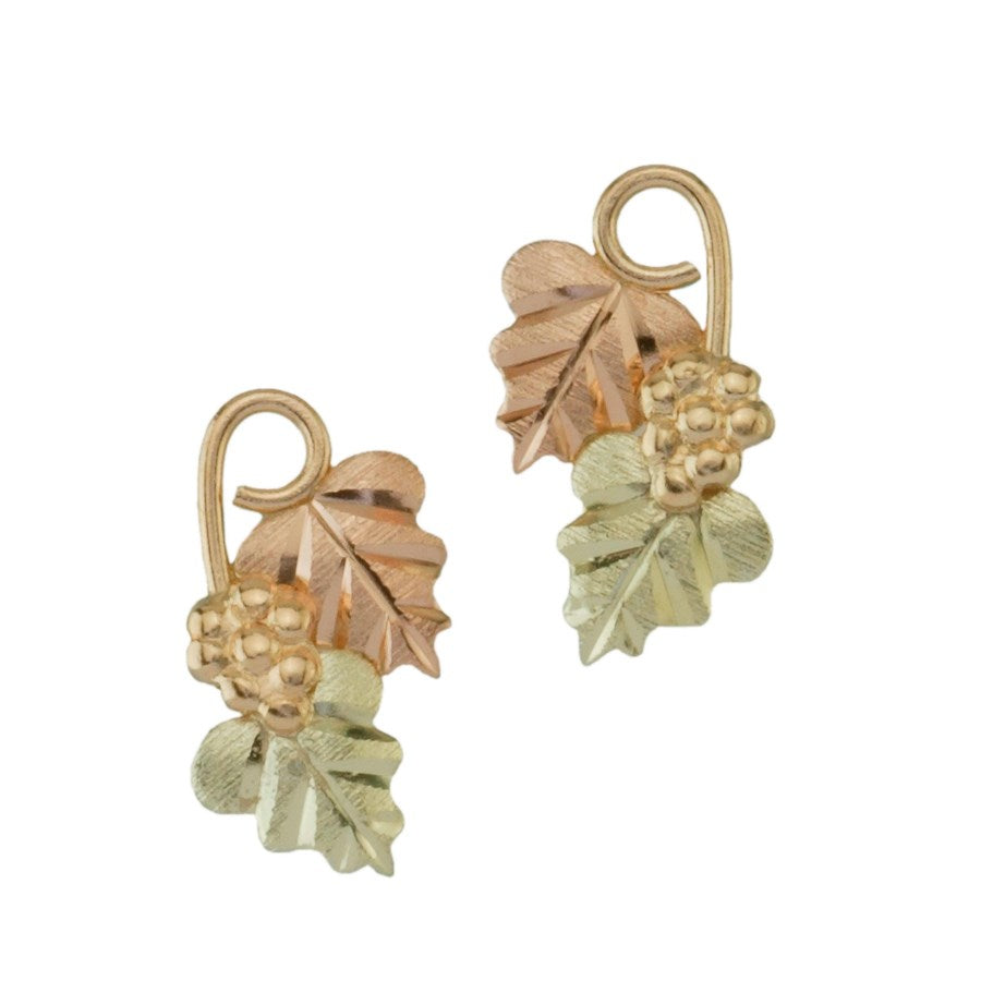 Black Hills Gold  Grapes and Leaves Post Earrings - 10k 12k & 14k - Yellow, Rose & Green Gold - Handmade -G C5204