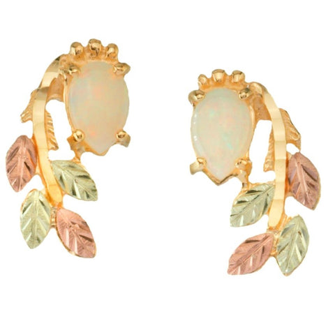 Black Hills Gold Lab Opal and Leaves Earrings - 10k 12k & 14k - Yellow, Rose & Green Gold - Handmade -  G C5966L-CB