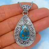 Mojave Blue Copper Turquoise Pendant Necklace - Sterling Silver - Artisan - Natural Genuine Arizona Turquoise - Large Filigree Pear - av261628