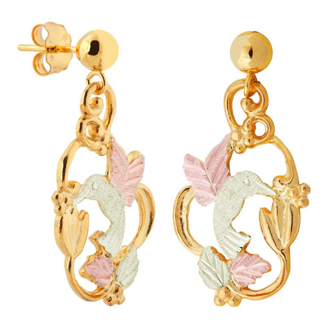 LANDSTROMS Black Hills Gold Cute Hummingbird Earrings - 10K and 12K Solid Gold - 14K Solid Gold Posts & Backs - Made To Order - G L01593