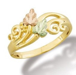 Custom Size Landstrom's Black Hills Gold Filigree & Leaves Ring - 10K and 12K - Yellow, Rose and Green Gold - G L02369