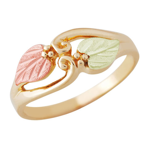 Sizes 2 - 10-1/2 Landstrom's Black Hills Gold Leafy Duo Ring - 10K and 12K Solid Gold - Made to Order - G L02728
