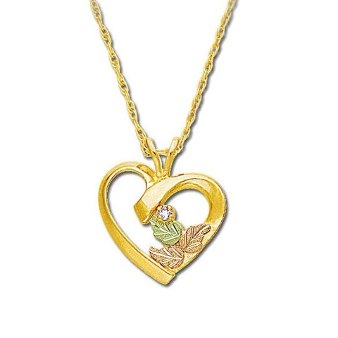 Landstrom's Black Hills Gold Polished Heart Diamond Necklace - 10K and 12K Solid Gold - Made To Order -  G L03311X