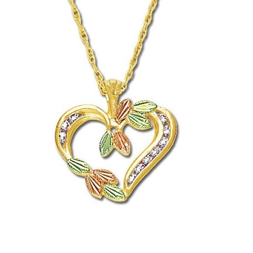 Landstrom's Black Hills Gold Harvest Heart Diamond Necklace - 10K Yellow and 12K Rose and Green Solid Gold - Made To Order - G L03531