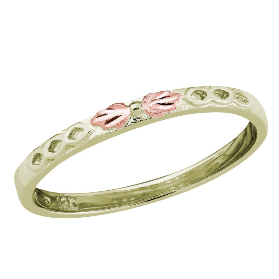 Sizes 5 - 10 Landstrom's Black Hills Gold 12K Green and Rose Gold Thin Band Ring - Wedding Band - Stack Ring - GL100286