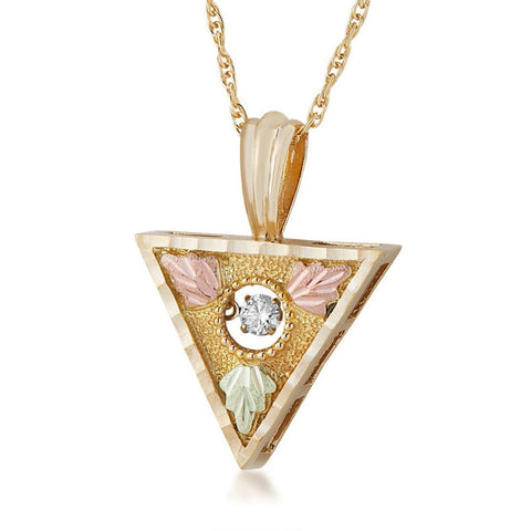 Landstrom's Black Hills Gold Tri Center Diamond Glimmer Necklace - 10K and 12K Solid Gold - Made To Order - G L20466D