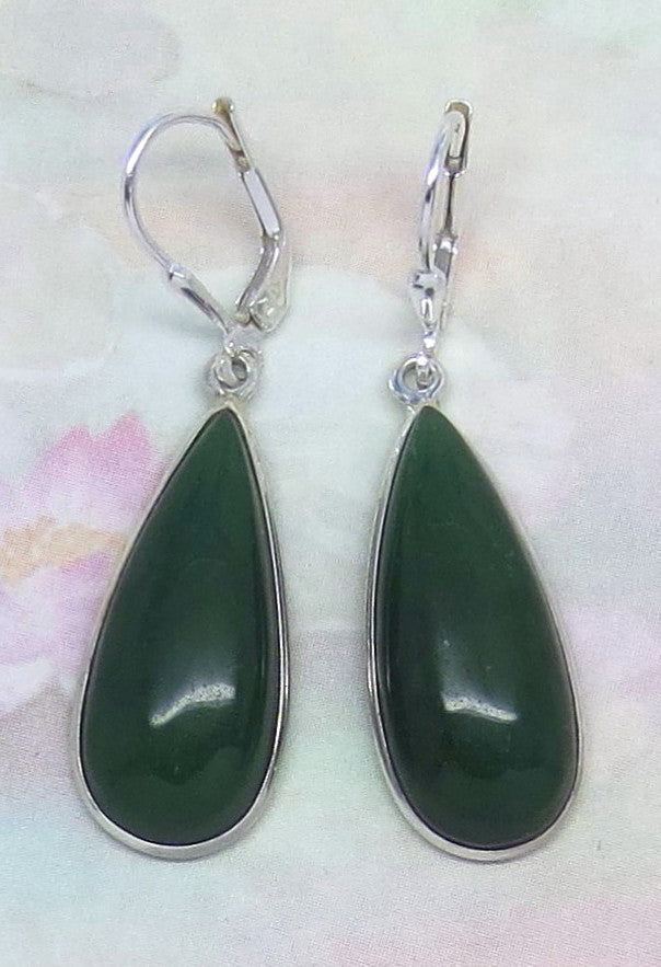 Nephrite Jade Earrings - Leverback - Sterling Silver - Genuine Jade - Natural Jade - Large ish - Pear Shape - Green Jade - Long - su171678