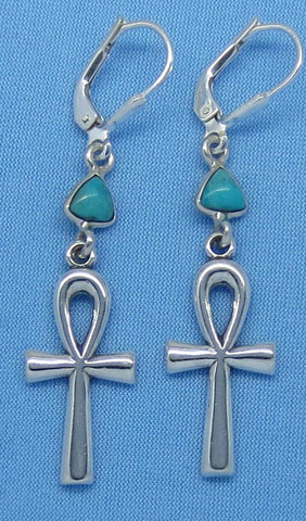 "2"" Genuine Arizona Turquoise Ankh Earrings - Leverback - Sterling Silver - Egypt - Travel - Pyramid - Cross - Long Dangles - 160833"