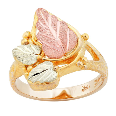Sizes 2 - 10-1/2 Landstrom's Black Hills Gold Leafy Gold Ring - 10K and 12K Solid Gold - Made to Order -G LC255