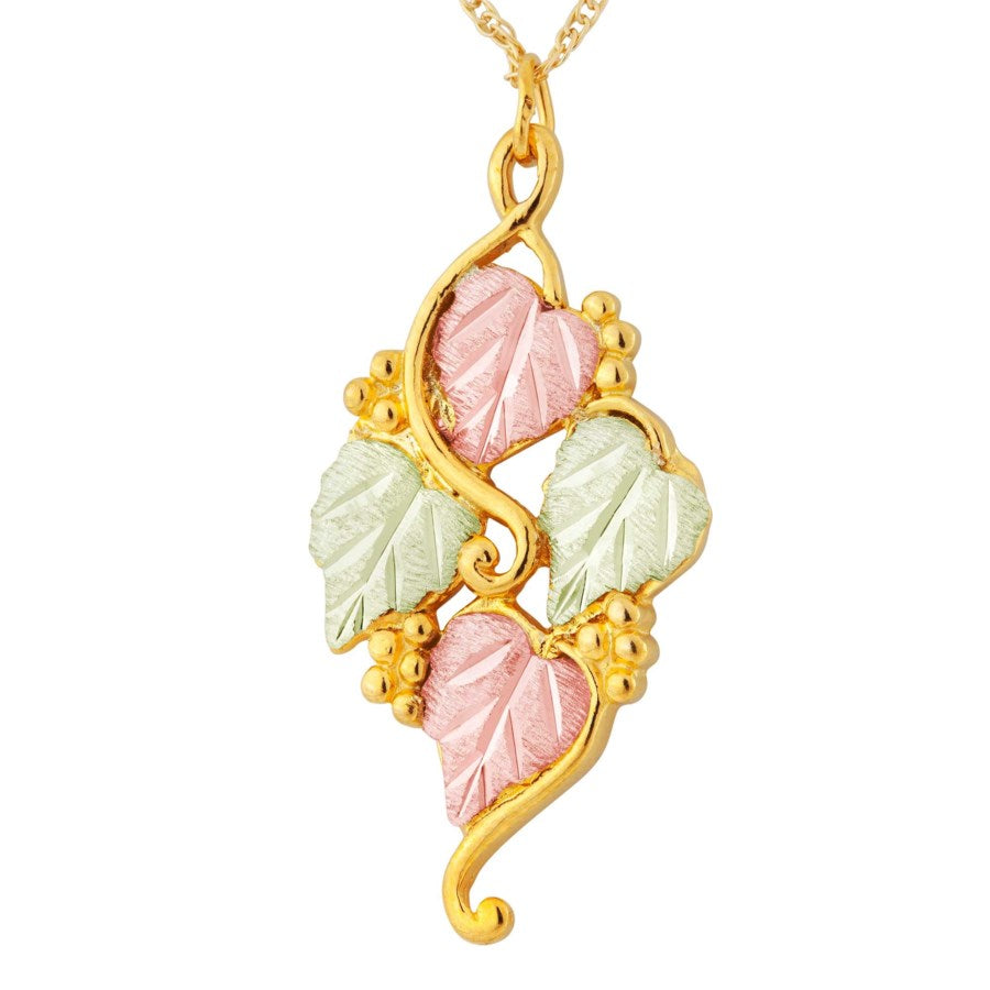 "Genuine Landstrom's Black Hills Gold Four Leaf Necklace  10K Yellow and 12K Rose Pink and Green Gold Pendant - 18"" Gold Filled Chain - GLE362"