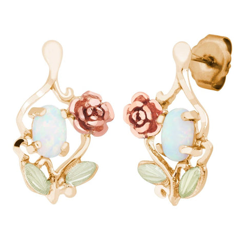 LANDSTROMS Black Hills Gold Rainbow Rose Lab Opal Post Earrings - 10K and 12K Solid Gold - 14K Solid Gold Posts & Backs - Made To Order -  G LER603