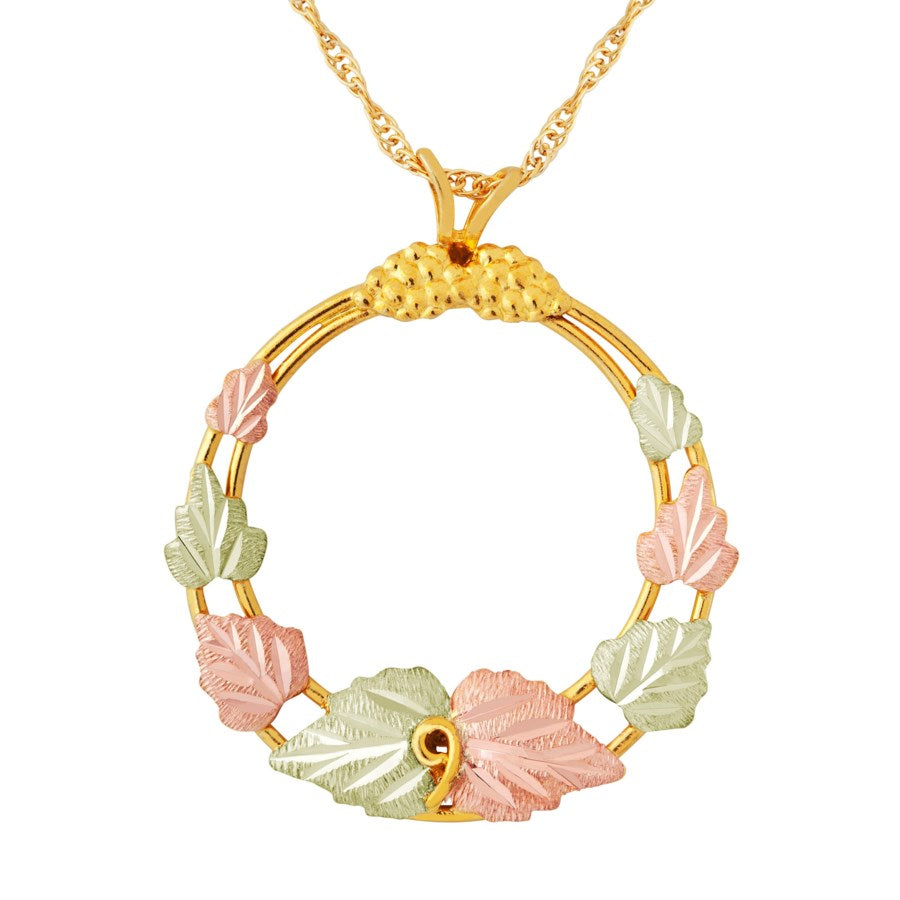 Landstrom's Black Hills Gold Hooped Grape Vines Necklace - 10K Yellow and 12K Rose and Green Solid Gold - Made To Order -  G LF3151