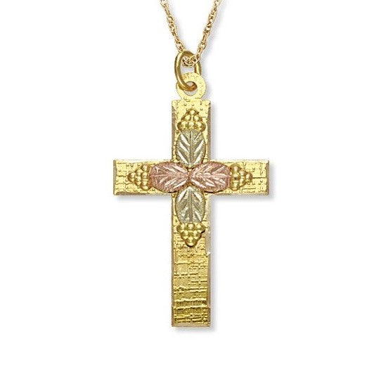 Landstrom's Black Hills Gold Solid Foundation Cross Necklace - 10K Yellow and 12K Rose Pink and Green Solid Gold - Made To Order - G LM600