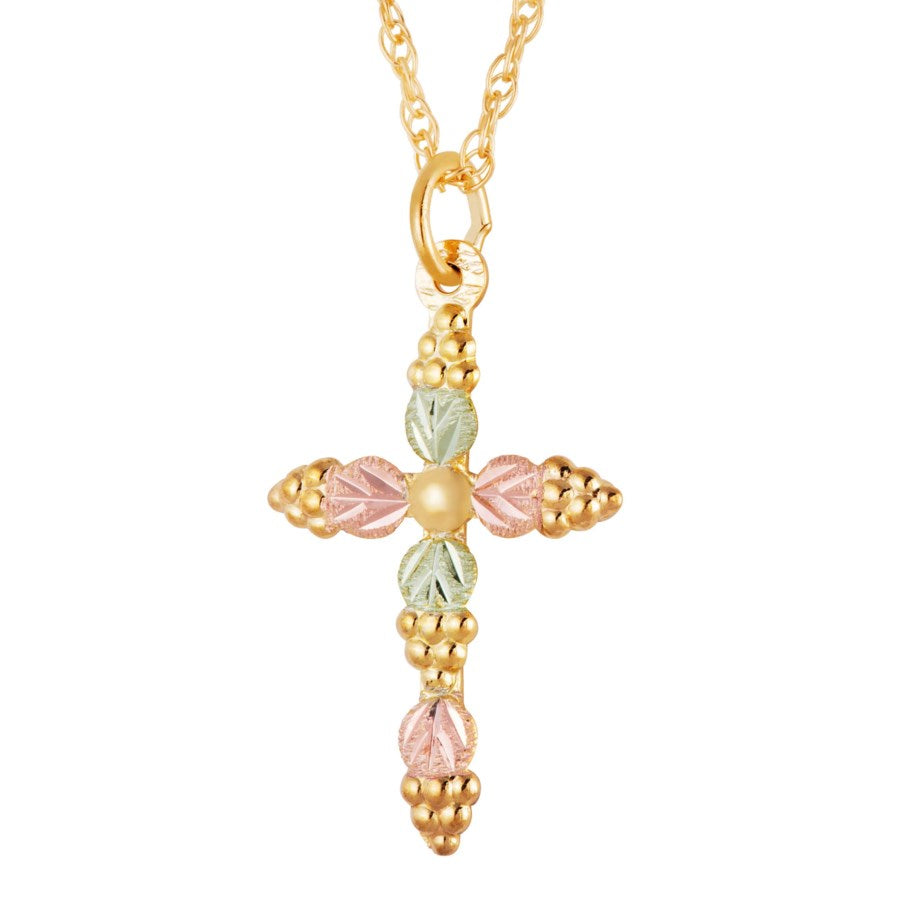 "Genuine Landstrom's Black Hills Gold Cross Necklace 10K Yellow and 12K Rose Pink and Green Gold Pendant - 18"" Gold Filled Chain - glm620"