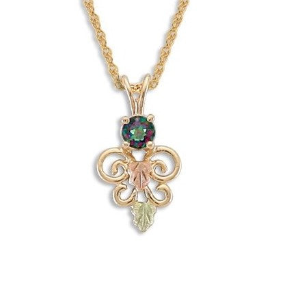 Landstrom's Black Hills Gold Mystic Topaz Filigree Necklace - 10K and 12K Solid Gold - Made To Order -   G LPE1938-471