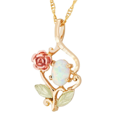 Landstrom's Black Hills Gold Rainbow Rose Lab Opal Necklace - 10K and 12K Solid Gold - Made To Order -  G LPE603