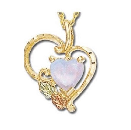 "LANDSTROM'S  Black Hills Gold Lab Opal Heart Pendant Necklace - 10K  and 12K - 18"" Gold Filled Chain - Handmade - G LPE628"