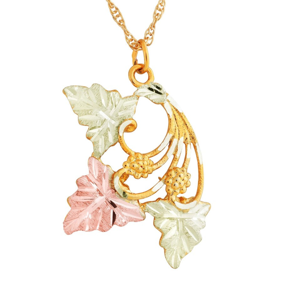 Landstrom's Black Hills Gold Vibrant Leaves Necklace - 10K and 12K Solid Gold - Made To Order -  G LPE75