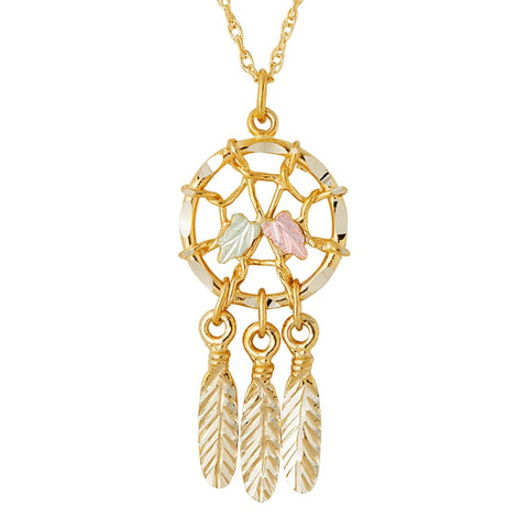 Landstrom's Black Hills Gold Dreamcatcher Harvest Necklace -  10K and 12K Solid Gold - Made To Order - G LPE876