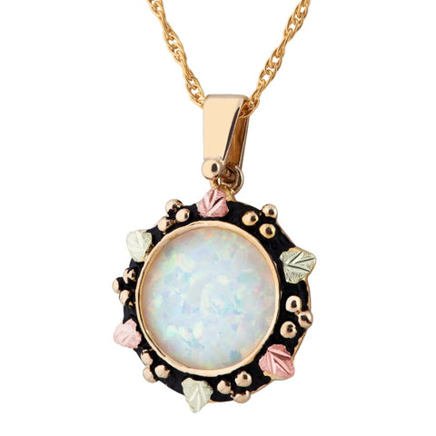 Landstrom's Black Hills Gold Antiqued Border Lab Opal Necklace - 10K and 12K  Solid Gold - Made To Order - G LPE927