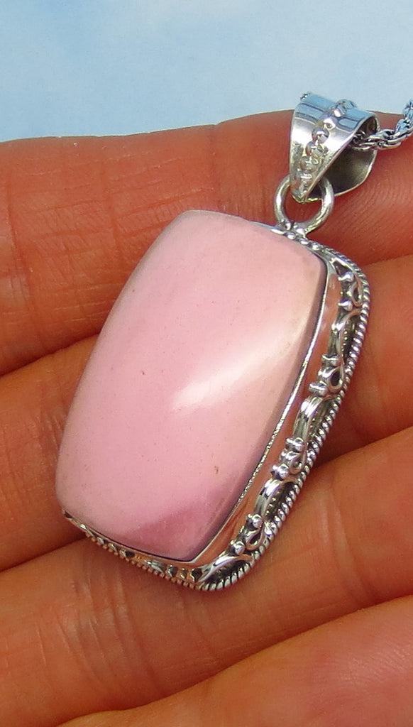 Natural Pink Opal Pendant Necklace - Sterling Silver - Rectangle Cushion - Victorian Filigree Bali Boho - Genuine Pink Opal SA181502