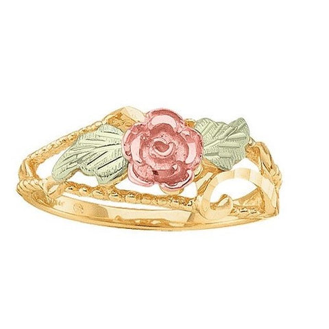 Sizes 4 - 10 Mt. Rushmore Black Hills Gold Centered Rose Ring - 10K and 12K Solid Gold - Made to Order -  G SD1829