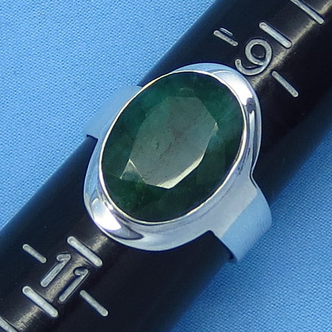 7.5ct Size 10 Genuine Emerald Ring - Sterling Silver - Large Oval - Natural Raw Emerald - sa181236