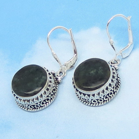 Natural Nephrite Jade Earrings - Sterling Silver - Leverback - Genuine Green Jade - 12mm Round - Boho Tribal Filigree Bali Victorian 162208