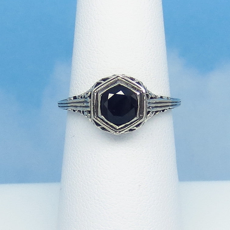 Size 6-3/4 - 1.0ct Genuine Natural Sapphire Ring - Sterling Silver - Very Dark Blue/Black - Victorian Filigree Ring - Tiny Dainty 0015-05