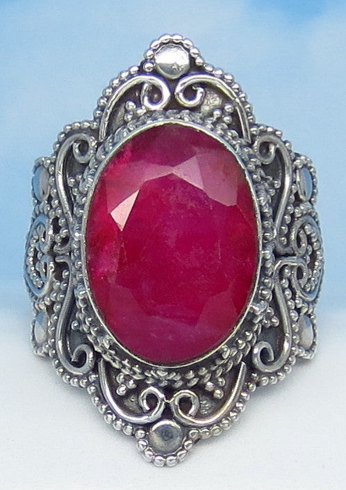 5.6ct Size 6 Natural Ruby Ring - Sterling Silver - India Raw Genuine Ruby - Victorian Filigree Bali Design - Large Oval - 0029-18