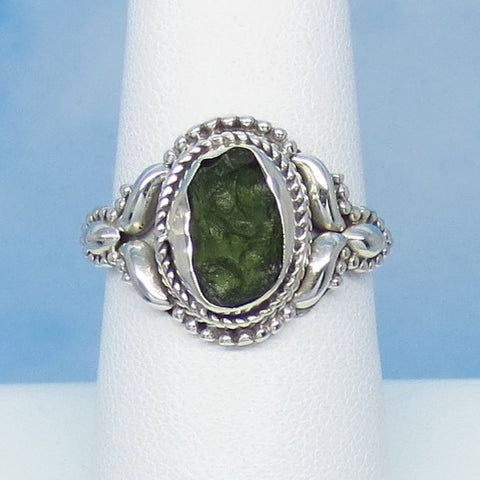 Size 7-3/4 Czech Moldavite Ring - Sterling Silver - Small - Victorian Filigree Design - Tektite - Meteorite - Natural Genuine - MM41