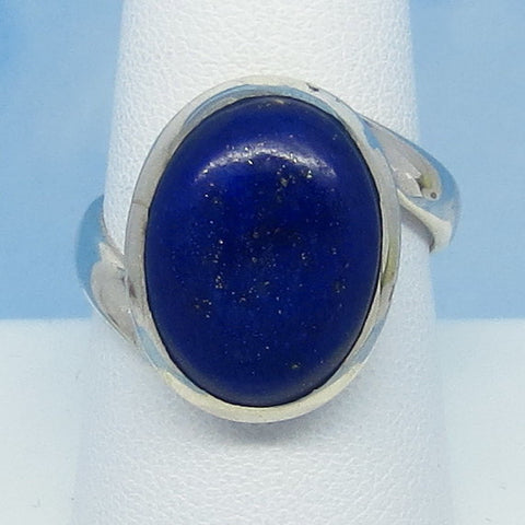Size 9 Natural Lapis Lazuli Ring - Sterling Silver - Oval - Bypass - Genuine Lapis - jy171350