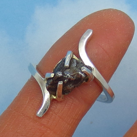 "Size 9 Meteorite Ring Campo del Cielo Argentina - Sterling Silver - Bypass Ring - 1"" Tall - 10 x 6mm - Simple Genuine Natural Real - m201110"