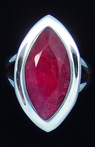5.0ct Size 8-1/4 Genuine Ruby Ring - Sterling Silver - India Raw Natural Ruby - Simple - Marquise - Large - Contemporary - M14