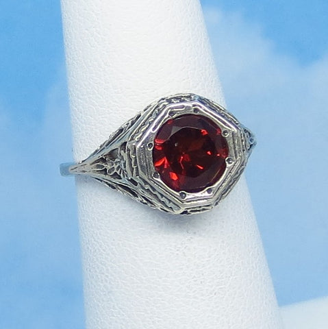 Size 5 - 1.6ct Natural Garnet Victorian Filigree Ring - Sterling Silver - 7mm Round Genuine Garnet - 152596