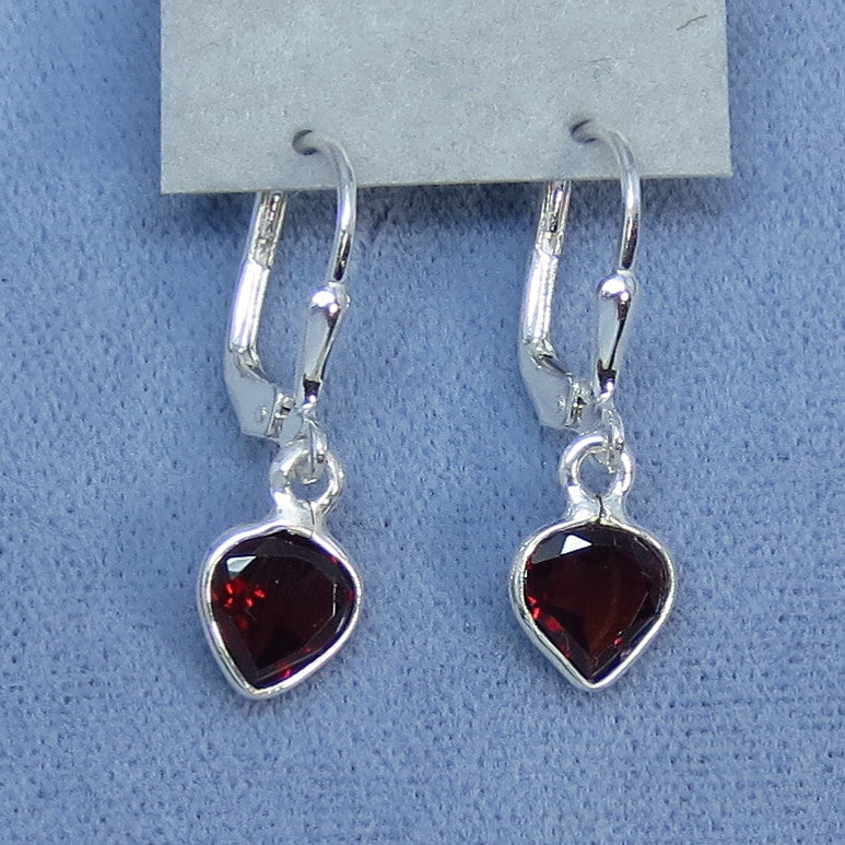 Tiny Genuine Garnet Earrings - Sterling Silver - Leverback - Pear Shape - Dainty - Hand Made - 170810