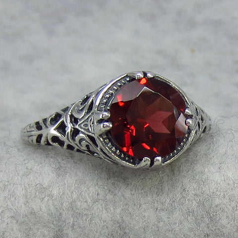 Garnet Filigree Ring Victorian Era Reproduction Size 8.75 - Sterling Silver - Rg24