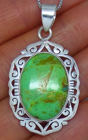 Australian Gaspeite Pendant Necklace - Sterling Silver - Jali Filigree - Oval - g151808